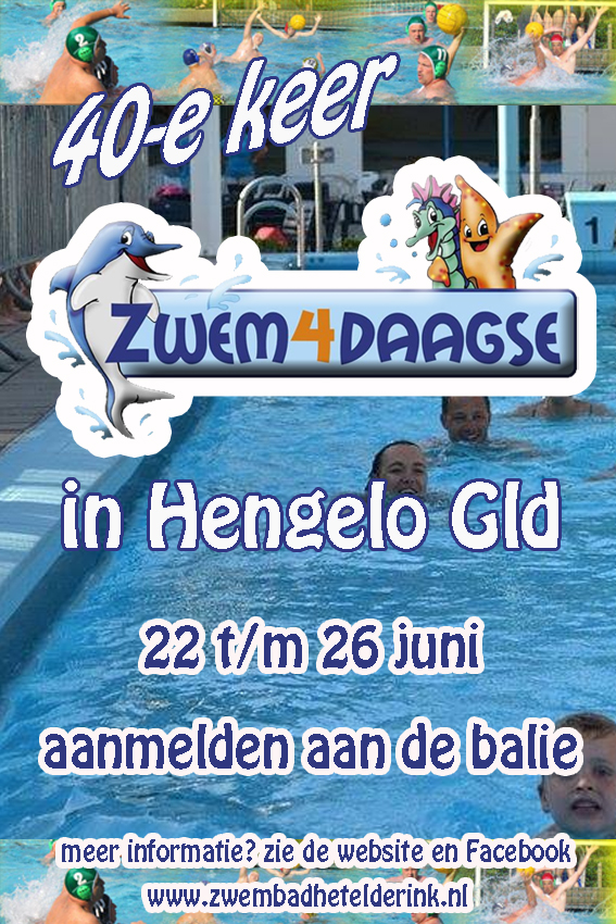 40e Zwem4daagse in Zwembad Het Elderink te Hengelo GLD  22 T/M 26 Juni 2015