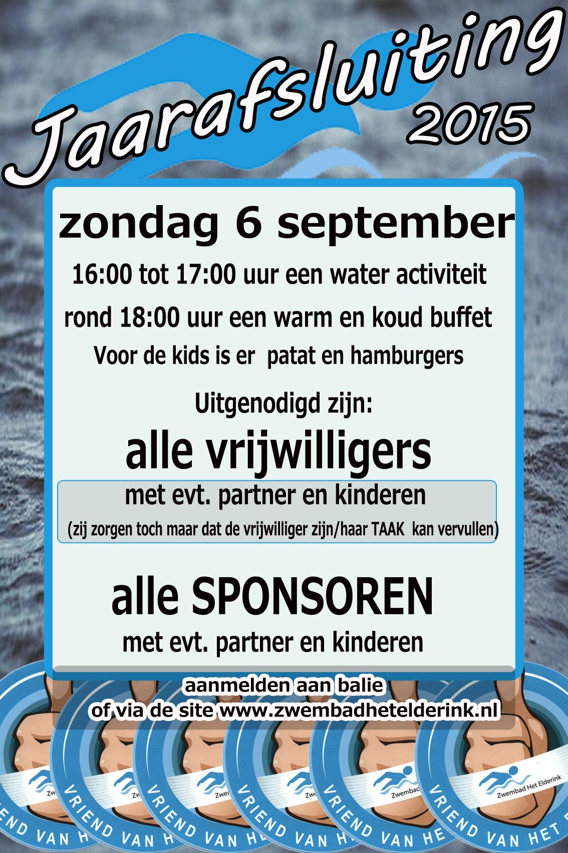 Vrijwilligersfeest zondag 6 september 2015